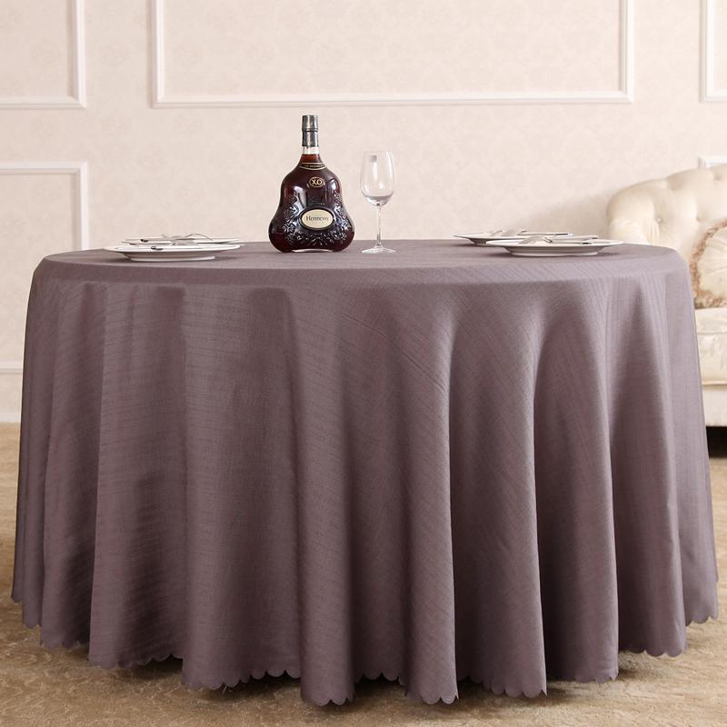 纯色餐桌布会议室酒店圆桌桌布布艺台布欧式亚麻花型灰米白色